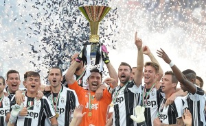 Juventus FC's players celebrate the Italian Serie A championship.