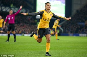 Sanchez celebrates his 12th goal in the league.