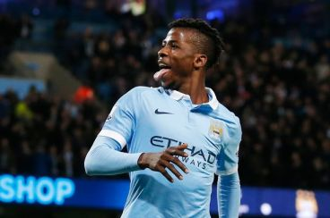 Iheanacho celebrating his goal in the Manchester derby